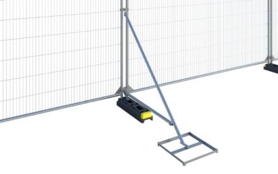 dobbelt skråstag med fodbakke, støtte til byggepladshegn, byggehegn, mobilhegn